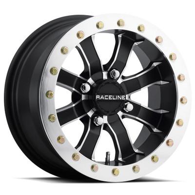 Raceline Wheels A71 Mamba UTV Beadlock Wheel 14X10 0 4X110 Silver/Black A7141011-55