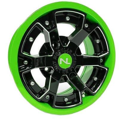 No Limit 14x7 DEUCE UTV Wheels Matte Black/Lime Green No Limit 3474