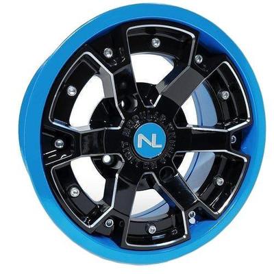 No Limit 14x7 DEUCE UTV Wheels Matte Black/Can-Am Octane Blue No Limit 3482