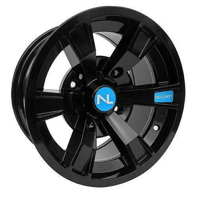No Limit 14x7 INTIMIDATOR UTV Wheels Gloss Black/Polaris Velocity Blue No Limit 3512