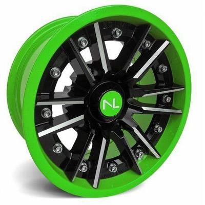No Limit 14x7 STORM UTV Wheels Gloss Black/Green No Limit 3521