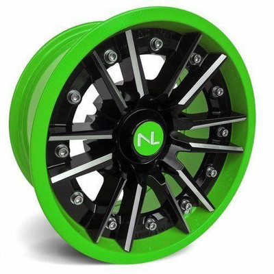 No Limit 15x7 STORM UTV Wheels Gloss Black/Green No Limit 3522