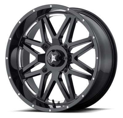 MSA M26 Vibe UTV Wheel 14X7 4X110 Milled Gloss Black M26-04710M