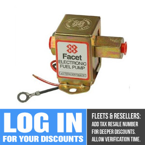 40164 Facet Cube Solid State Fuel Pump, 24 Volt, 4.5-6.0 PSI, 32 GPH
