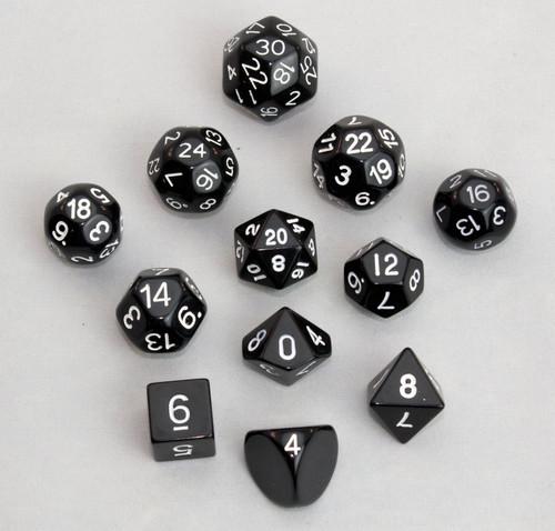 12pc Tiered Dice Set - Black