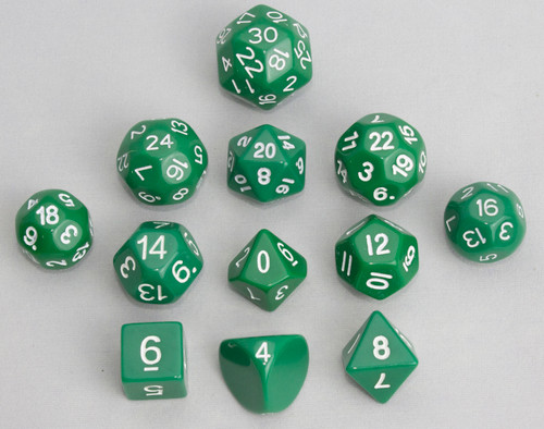 12pc Tiered Dice Set - Green