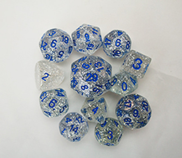 12pc Tiered Dice Set - Silver Glitter LIMITED