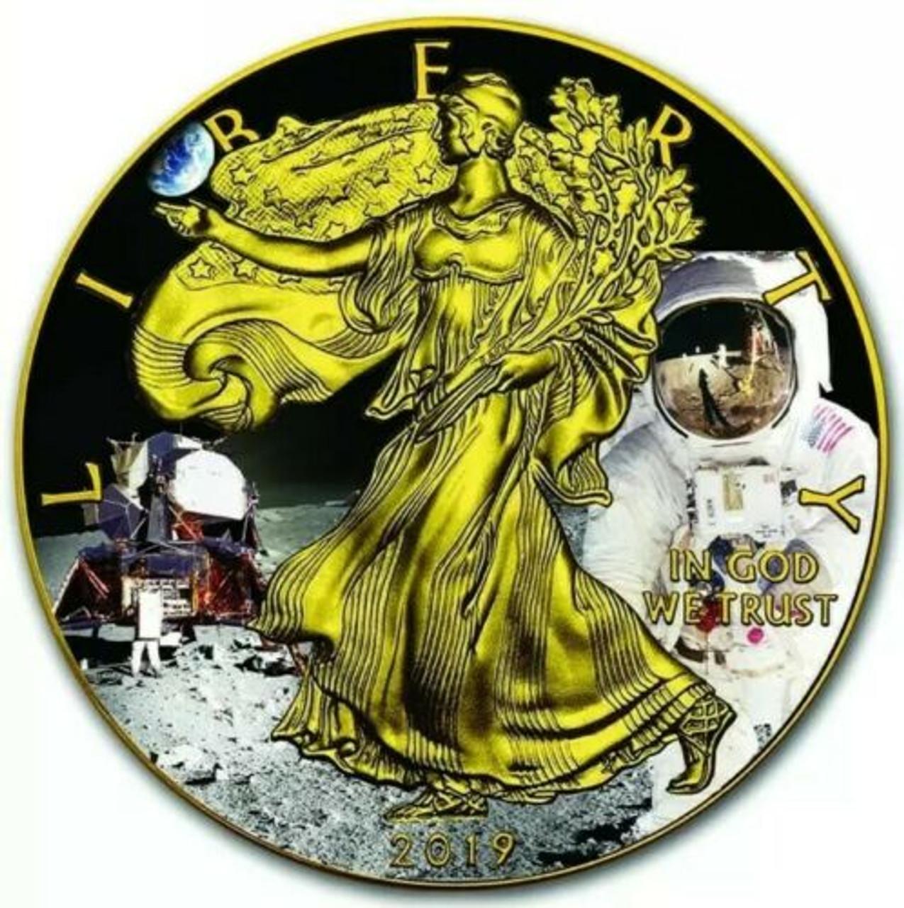 2019 1 Oz Silver $1 APOLLO 11 MOON LANDING EAGLE Ruthenium Coin.