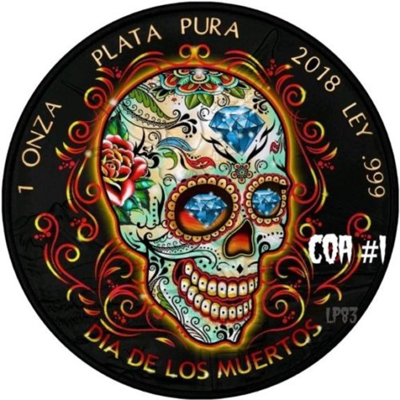 W// BOX,COA 2018 MEXICAN DIA DE LOS MUERTOS LIBERTAD Ruthenium 1 Oz Silver Coin