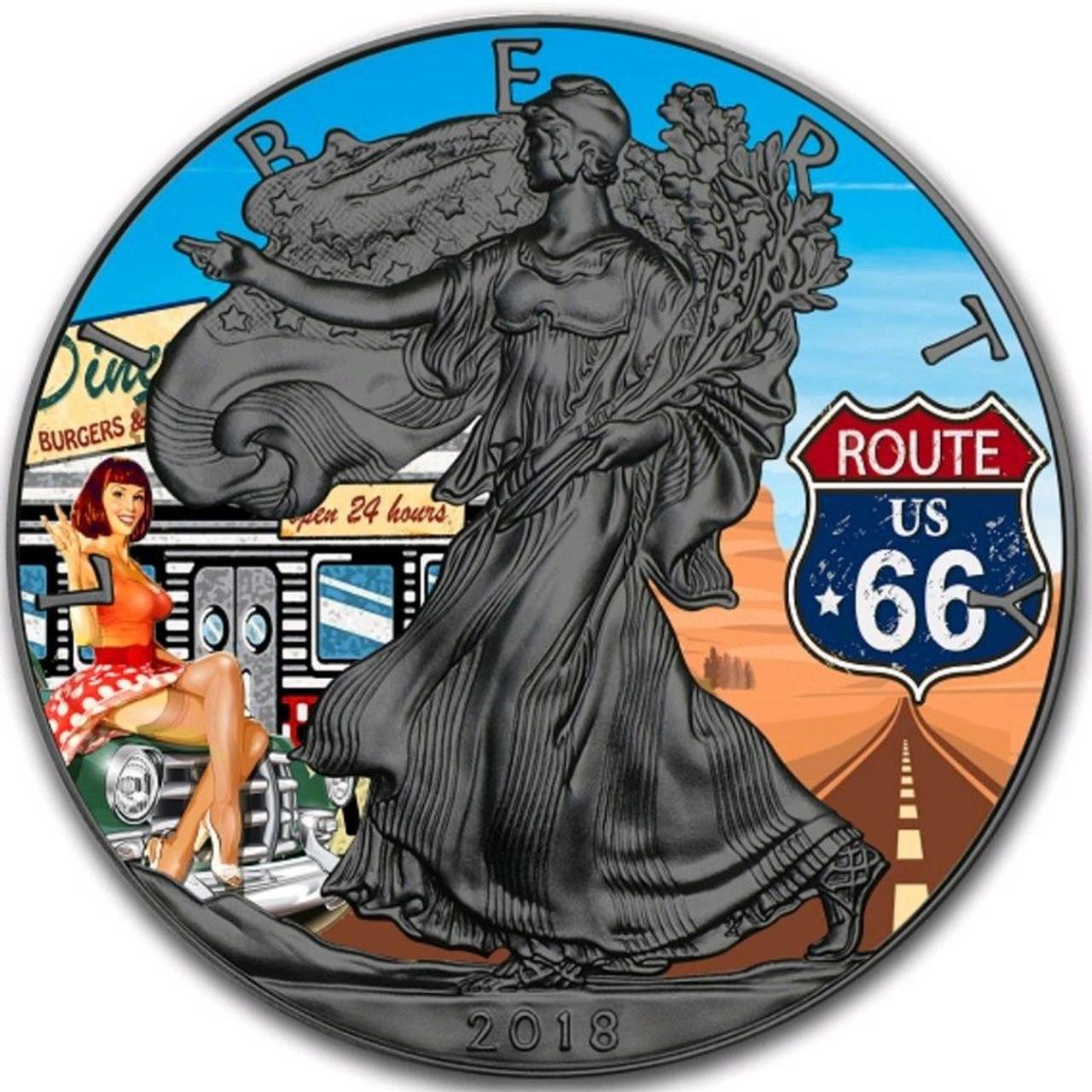 2018 1 Oz Silver $1 ARCTIC BLAST EAGLE Ruthenium Coin