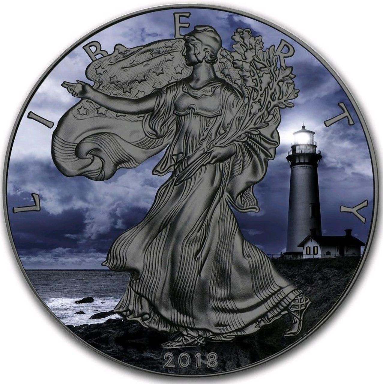 2018 1 Oz Silver  $1 NOTHERN LIGHT EAGLE Ruthenium Coin.