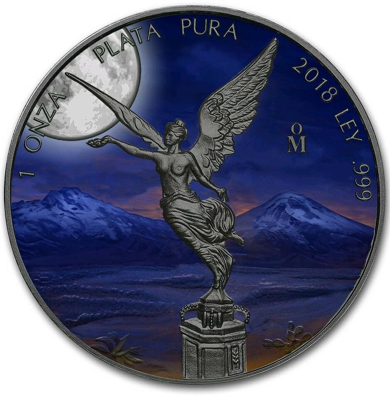 2018 1 Oz Silver Mexican MOONLIGHT LIBERTAD  Ruthenium Coin.