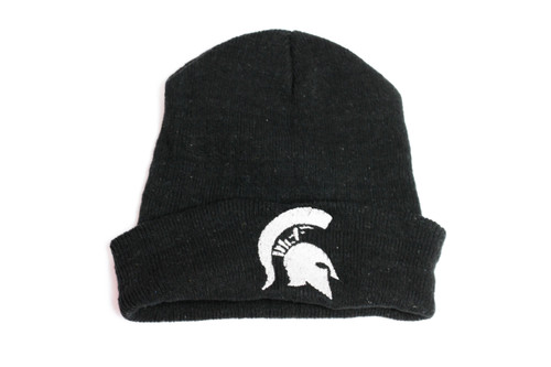 Black hat with white embroidered spartan head