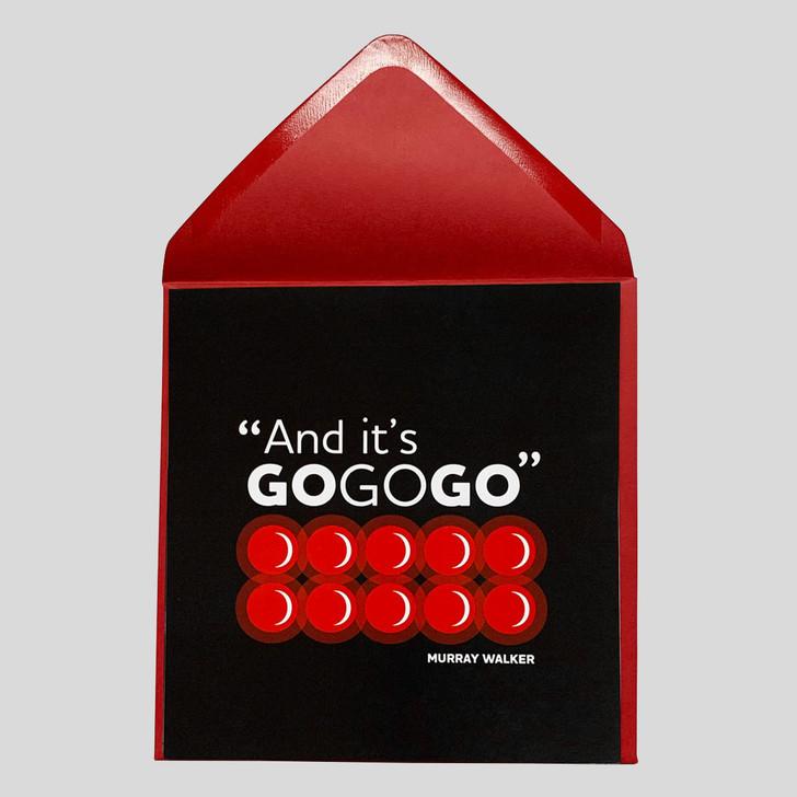 Murray Walker 'Go Go Go' Greetings Card
