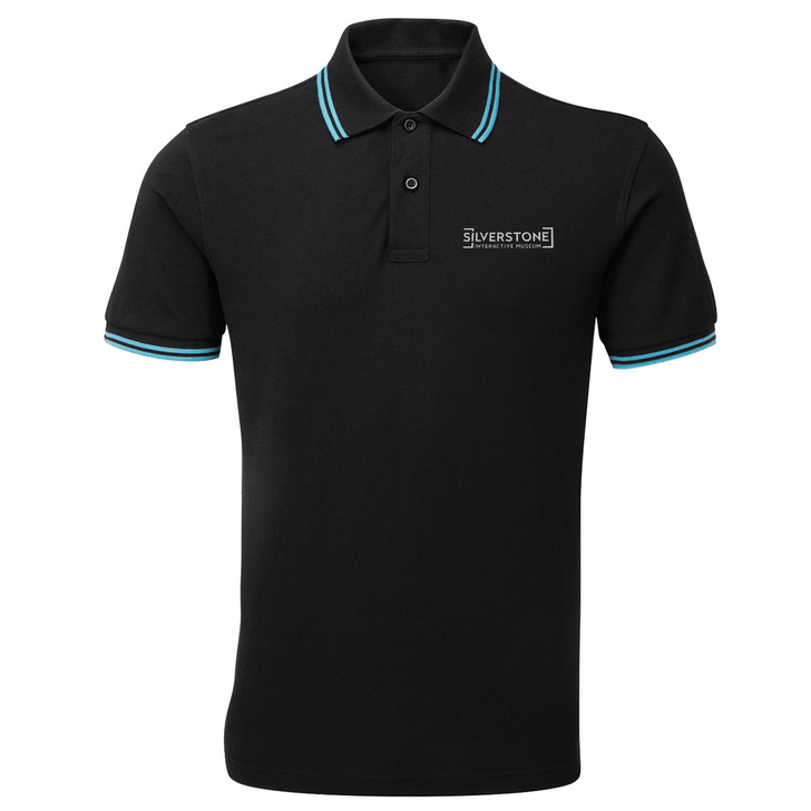 Silverstone Interactive Museum Mens Tipped Polo - Black/Turquoise