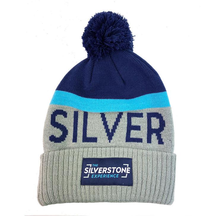 Silverstone Jacquard Pompom Beanie - Grey / Navy / Sapphire