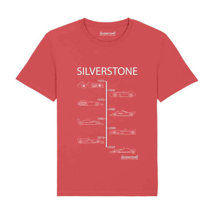 Silverstone Evolution of winning Grand Prix cars from 1950 to 2020 T-shirt - Carmine Red