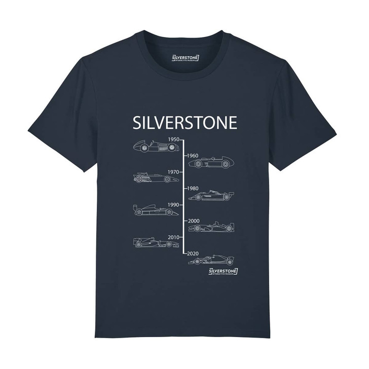 Silverstone Evolution of winning Grand Prix cars from 1950 to 2020 T-shirt - Navy