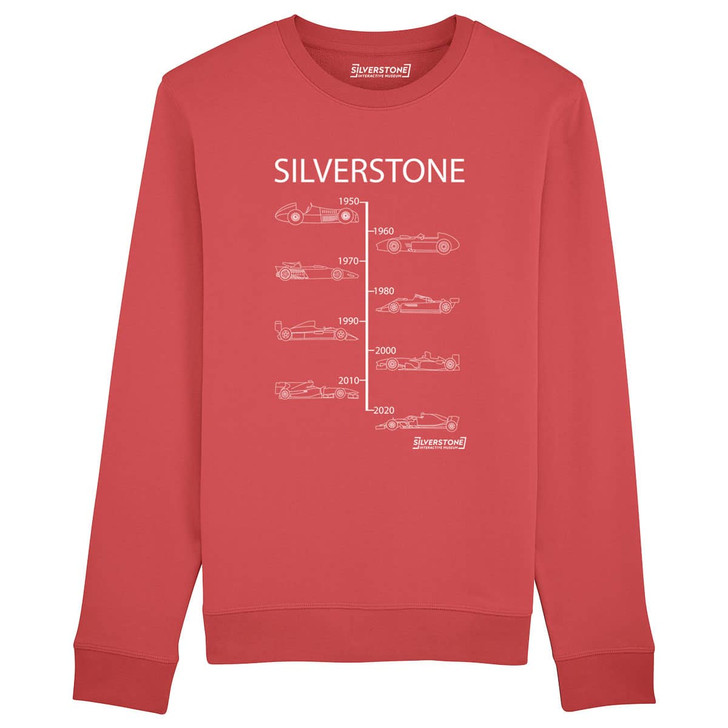 Silverstone Evolution of winning Grand Prix cars from 1950 to 2020 Sweatshirt - Carmine Red