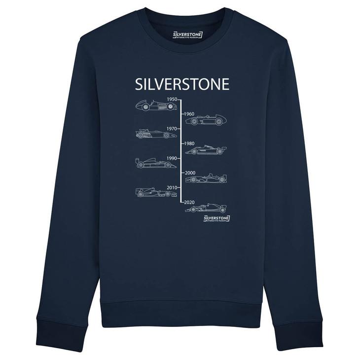 Silverstone Evolution of winning Grand Prix cars from 1950 to 2020 Sweatshirt - Navy