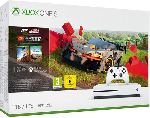 Xbox One S Console 1TB: Forza Horizon 4 DLC and Forza Horizon 4 Lego Speed Champions Add-On Plus 1 Month Xbox Live Gold