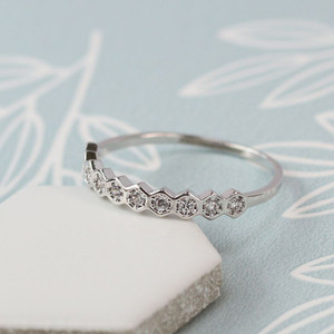 Delicate Band Ring - White Gold Plated