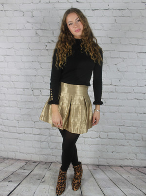 Gold Silky Box Skirt