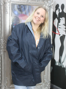 Rubberised Rain Coat Navy