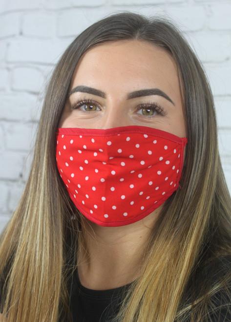 Reversible Polka Dot Mask - Red