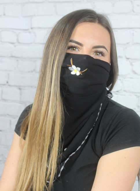 Embroidered Scarf Black