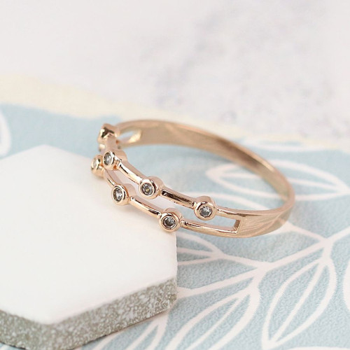 Double Row Ring - R/Gold Plated