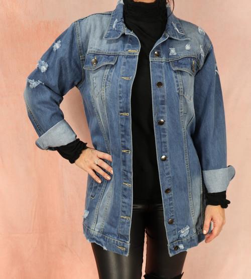 Longline Blue Denim Jacket
