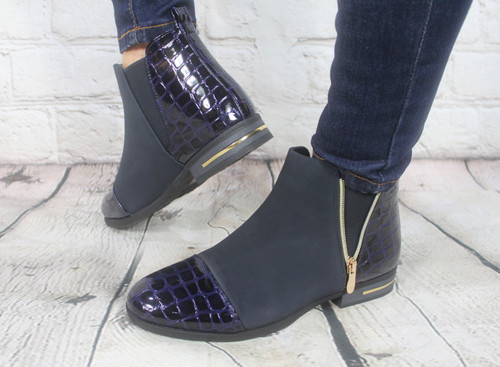 Croc Ankle Boots - Navy
