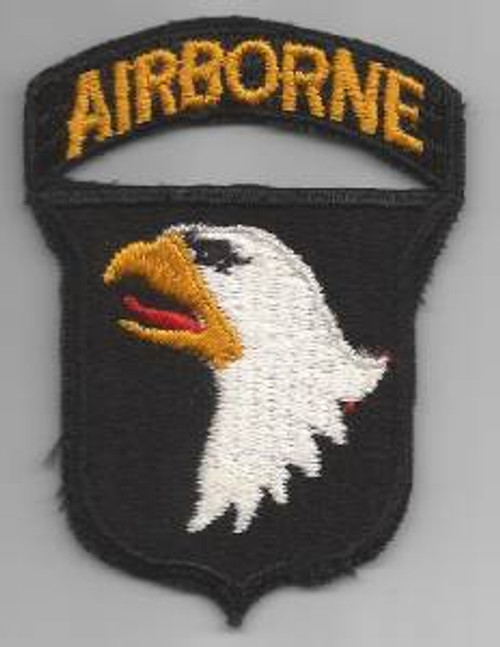 WW 2 US Army 101st Airborne Division Black Back Patch W/ Attached Tab Inv# F068