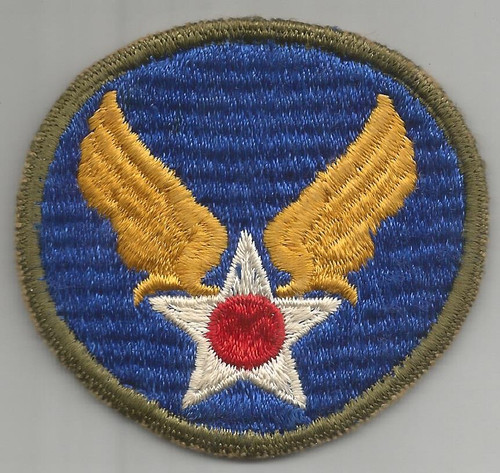 Off Uniform WW 2 AAF HQ OD Border Ribbed Weave Patch Inv# A444