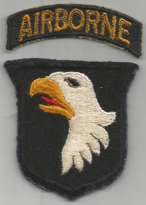 Bullion over Cotton WW 2 US Army 101st Airborne Division Patch & Tab Inv# A460