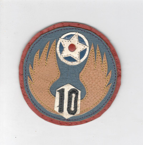 """Named 3"""" WW 2 US Army Air Force 10th Air Force Leather Patch Inv# L282"""
