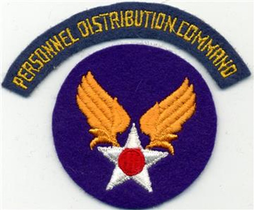 WW 2 US AAF Personnel Distribution Command Wool Patch & Tab Inv# X031