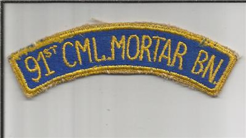 WW 2 US Army 91st Chemical Mortar Battalion Patch Inv# JR572