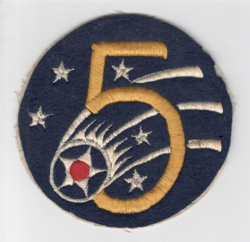 """Aussie Made 4-3/8"""" WW 2 US Army Air Force 5th Air Force Wool Patch Inv# P310"""