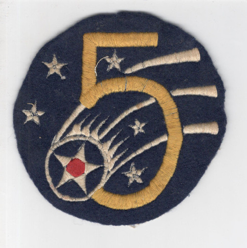 """Aussie Made 4-1/4"""" WW 2 US Army Air Force 5th Air Force Wool Patch Inv# P312"""