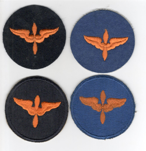 Set of 4 WW 2 US Army Air Force Cadet Patches 2 Cotton & 2 Wool Inv# P075