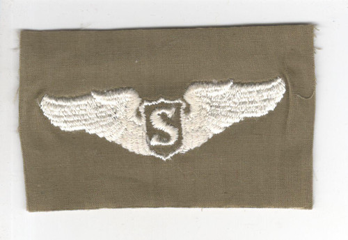 """WW 2 US Army Air Force Cloth Service Pilot 3"""" Wings Patch Inv# P344"""
