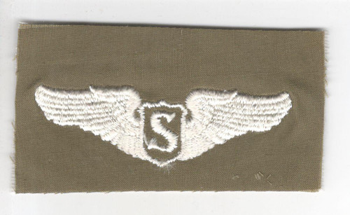"""WW 2 US Army Air Force Cloth Service Pilot 3"""" Wings Patch Inv# P345"""