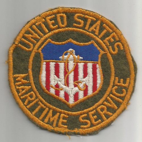 "WW 2 United States Maritime Service 3-3/4"" Wool Patch Inv# W362"