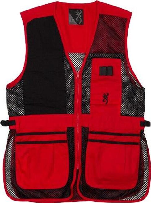 Browning Bg Mesh Shooting Vest R-hand - Small Black/red Trim