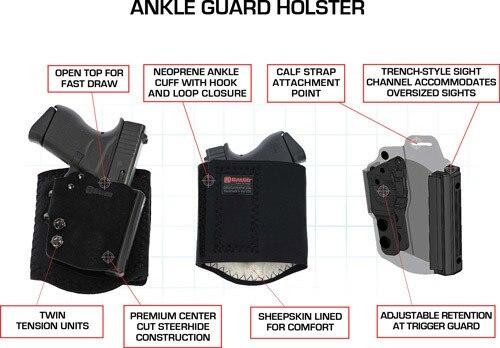 Galco Galco Ankle Guard Holster Rh - Hybrid Lther Mandp Shld 9/40 Blk