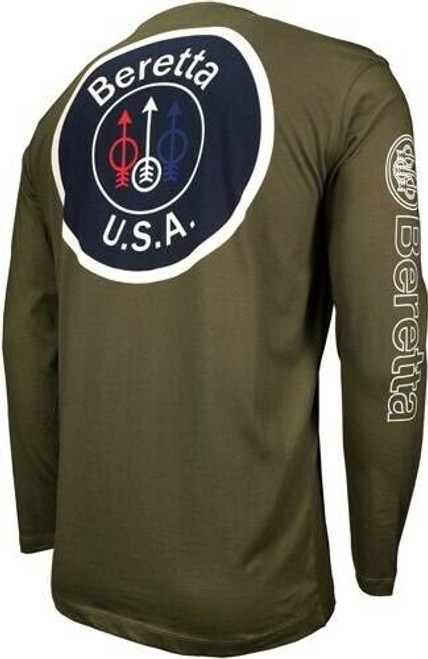 Beretta Beretta T-shirt Long Sleeve - Usa Logo Medium Od Green