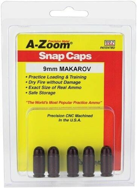 A-ZOOM A-zoom Metal Snap Cap 9x18mm - 9mm Makarov 5-pack