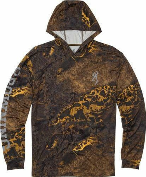 Browning Bg Hooded Long Sleeve Tech T- - Shirt Realtree Wave Large